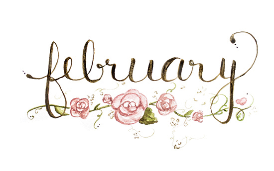 February | 2014 appointment calendar, watercolour, floral