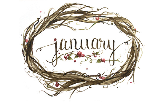 January | 2014 appointment calendar, watercolour, floral