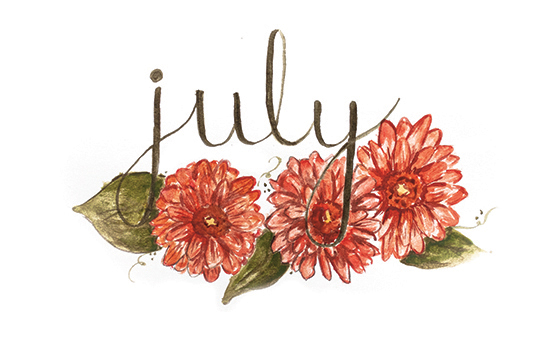 July | 2014 appointment calendar, watercolour, floral