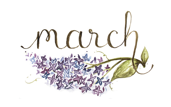 March | 2014 appointment calendar, watercolour, floral