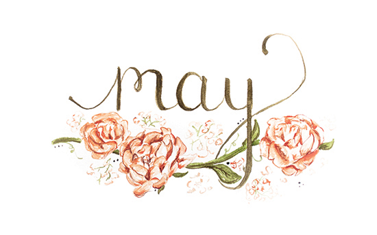 May | 2014 appointment calendar, watercolour, floral